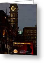 Sydney Clock On Anzac Day At Dawn Greeting Card