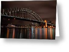 Sydney Harbor At Night With Train Greeting Card