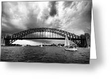 Sydney Harbor Bridge Black And White V2 Greeting Card