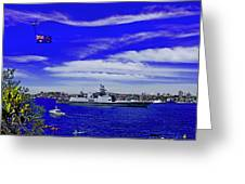 Sydney Harbour And Flying Flag Greeting Card