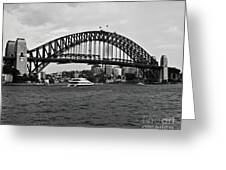 Sydney Harbour Bridge In Black And White Greeting Card