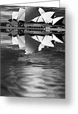 Sydney Opera House Reflection In Monochrome Greeting Card