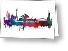 Sydney Skyline City Blue Greeting Card