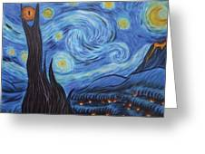 Syfy- Starry Night In Mordor Greeting Card