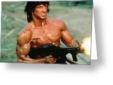 Sylvester Stallone And Browning Machine Gun Rambo 1985 Greeting Card