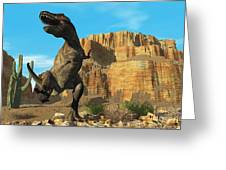 T-rex Greeting Card by Corey Ford