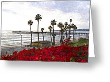 T-street View Of San Clemente Pier Greeting Card