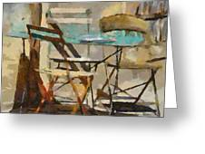 Table Bleue Au Soleil Greeting Card