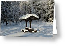 Table By Cross Country Ski Tracks Greeting Card