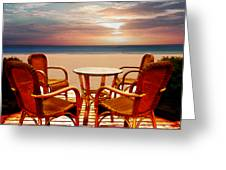 Table For Four At The Beach At Sunset Greeting Card