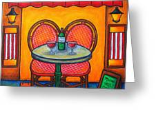 Table For Two In Paris Greeting Card by Lisa  Lorenz