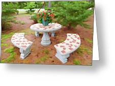 Table In The Garden Greeting Card