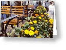 Tables And Chairs With Flowers Greeting Card