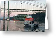 Tacoma Narrows Bridge With Patrol Boat In Foreground Greeting Card