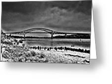 Tacony Palmyra Bridge In B And W Greeting Card