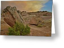 Tail End Of Storm At Sunset Over Bentonite Site Greeting Card