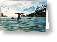 Tailing Whales Prince William Sound Greeting Card