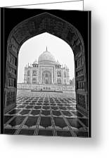 Taj Mahal - Bw Greeting Card