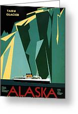 Taku Glacier - Alaska - Canadian Pacific Steamship - Retro Travel Poster - Vintage Poster Greeting Card