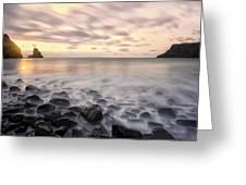 Talisker Bay Boulders At Sunset Greeting Card
