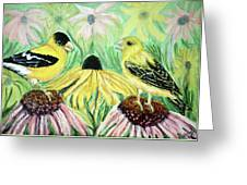 Talking Finches Greeting Card