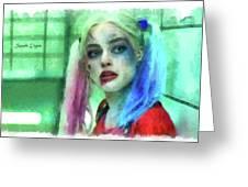Talking To Harley Quinn - Aquarell Style Greeting Card
