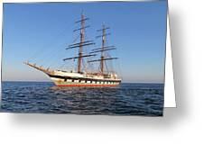 Tall Ship Anchored Off Penzance Greeting Card