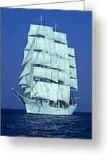 Tall Ship At Sea Greeting Card by Kenneth Garrett