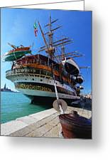 Tall Ship In Port Venice Greeting Card