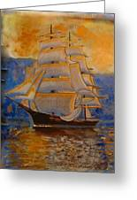 Tall Ship In The Sunset Greeting Card