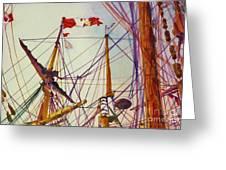 Tall Ship Lines Greeting Card