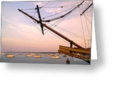 Tall Ship Mayflower II In Plymouth Massachusetts Greeting Card