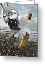 Tall Ship Message In A Bottle Greeting Card