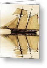 Tall Ship Sepia  Greeting Card
