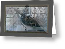 Tall Ship Through A Window Greeting Card