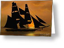 Tall Ship With A Harvest Moon Greeting Card