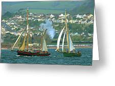 Tall Ships And Steam Trains Greeting Card