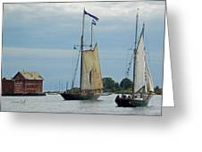 Tall Ships Sailing II Greeting Card by Suzanne Gaff