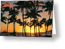 Tall Sunset Palms Greeting Card