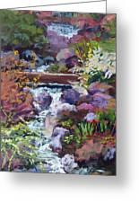 Tall Waterfall At The Botanic Gardens Greeting Card