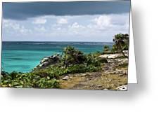 Talum Ruins Mexico Ocean View Greeting Card