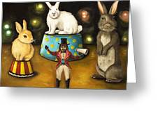 Taming Of The Giant Bunnies Greeting Card by Leah Saulnier The Painting Maniac