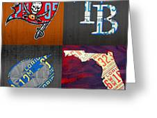 Tampa Bay Sports Fan Recycled Vintage Florida License Plate Art Bucs Rays Lightning Plus State Map Greeting Card