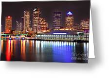 Tampa Skyline At Night Early Evening Greeting Card