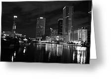 Tampa Skyline West Night Black And White Greeting Card