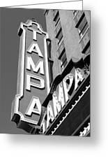 Tampa Theatre Bw Greeting Card