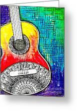 Tangle Guitar No 4 Greeting Card