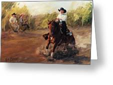 Tango Reining Horse Slide Stop Portrait Painting Greeting Card