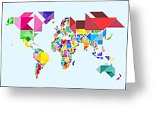Tangram Abstract World Map Greeting Card by Michael Tompsett