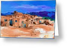 Taos Pueblo Village Greeting Card by Elise Palmigiani
